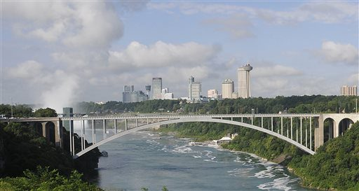 The Rainbow Bridge which connects Niagara Falls, New York and Niagara Falls, Ontario, Canada.