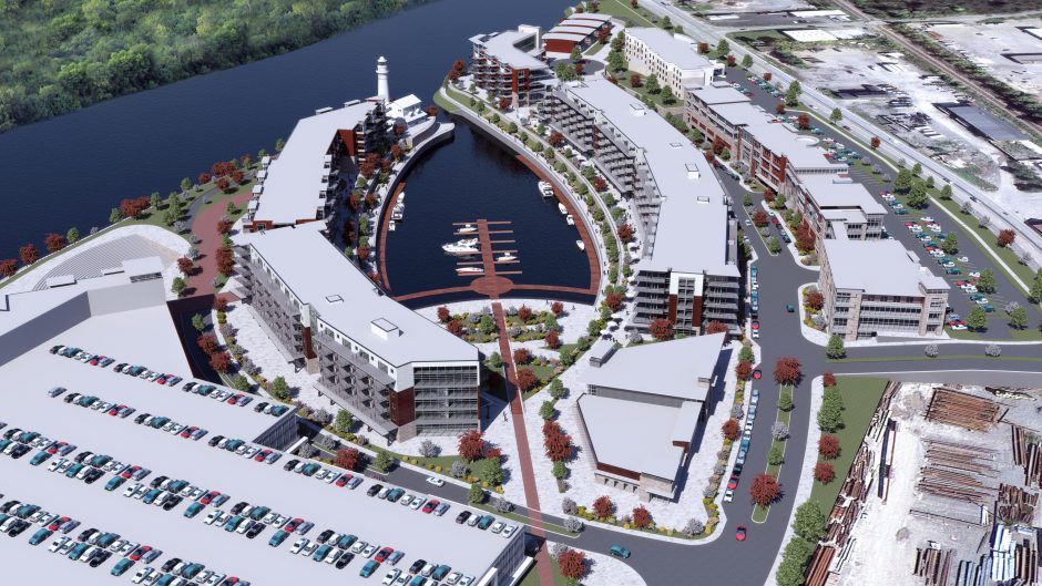 A rendering of the plans for the former Alco site in Schenectady, now called Mohawk Harbor by developers.