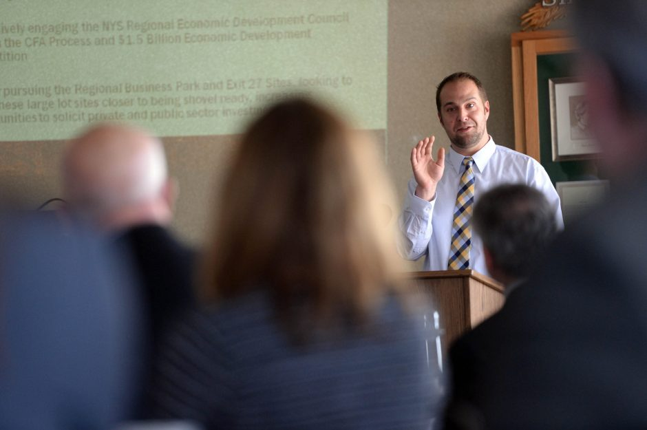 Montgomery County Executive Matthew L. Ossenfort delivers the 2015 State of Montgomery County Address at Amsterdam Municipal Golf Course on Friday, February 27, 2015.