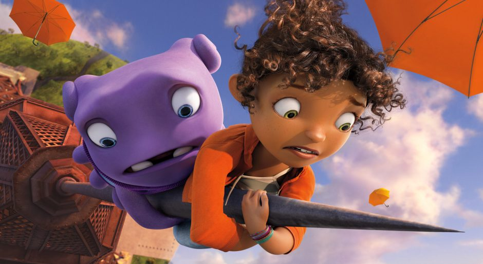 "Characters Oh, voiced by Jim Parsons, and Tip, voiced by Rihanna, in the animated ""Home"""