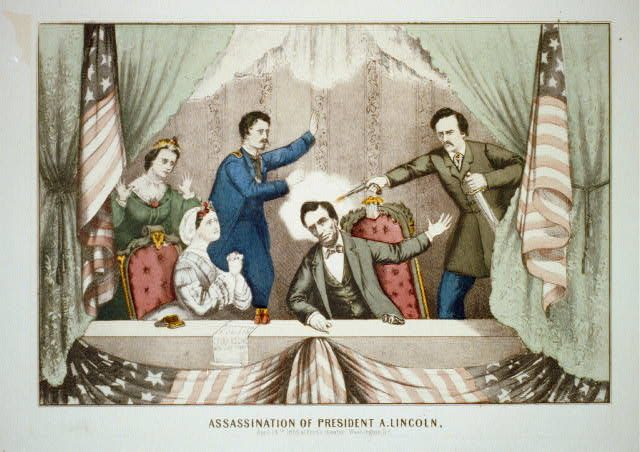 "An 1870 lithograph from Gibson & Co entitled ""Assassination of President A. Lincoln, April 14th 1865 at Ford's theater, Washington, D.C."" shows John Wilkes Booth shooting President Lincoln. At left are first lady Mary Todd Lincoln, Maj. Henry Rathbone ..."