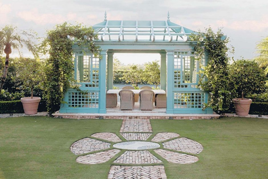 For a client in Palm Beach, Fla., who wanted a pergola by a tennis court, Markham Roberts designed a Chinese Chippendale-influenced pavilion, which will eventually be covered in vines.
