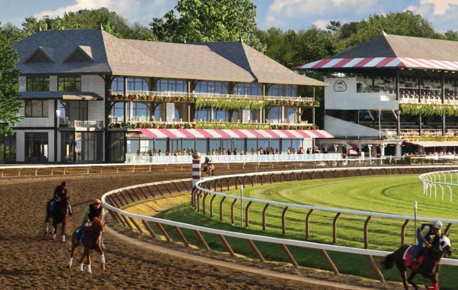 This artist's rendering shows the permanent At The Rail facility the New York Racing Association hopes to build adjacent to the existing clubhouse at Saratoga Race Course.