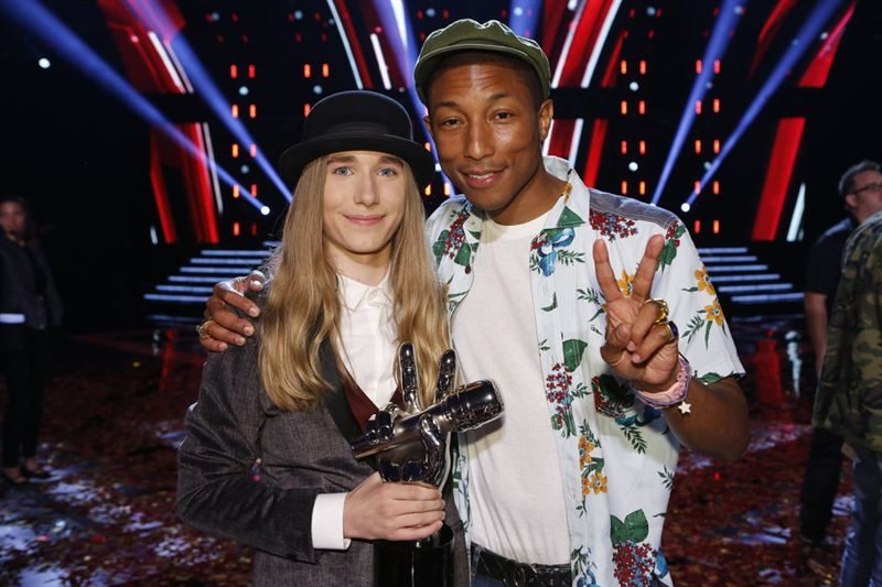 Sawyer Fredericks, here with his mentor Pharrell, was crowned champion of NBC's 'The Voice,' May 19, 2015. Photo via NBC.