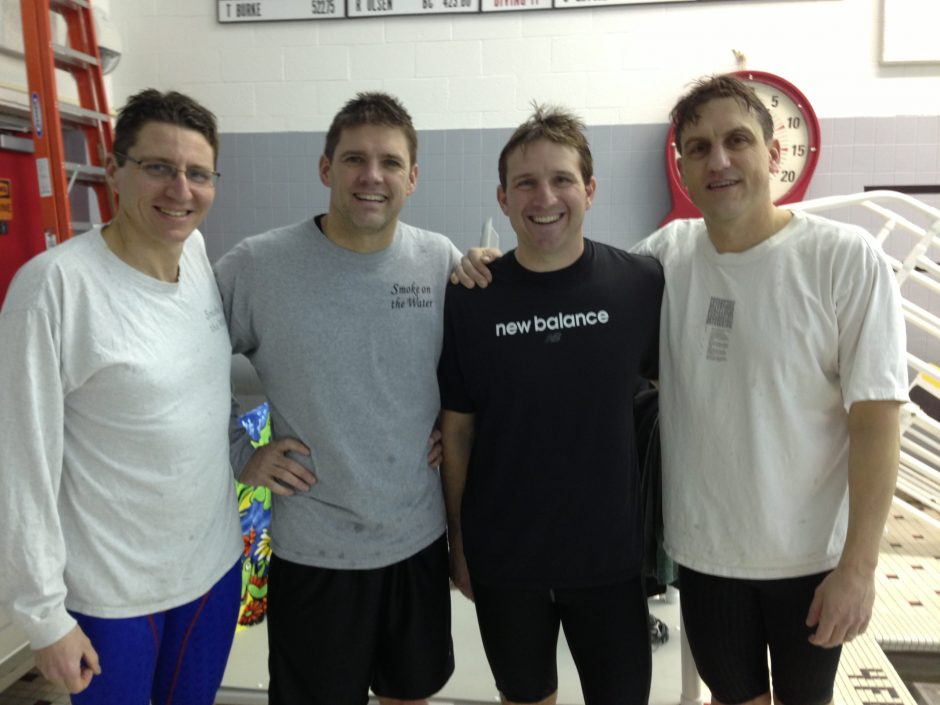 The Smoke on the Water swim team set the Adirondack Masters district record in the 800 freestyle relay and were ranked second nationally in the 45 and over age group. From left are Willie Grimmke,  Dan Canty, Tim Sinnenberg and Steve Atkins. (Karen Byer)