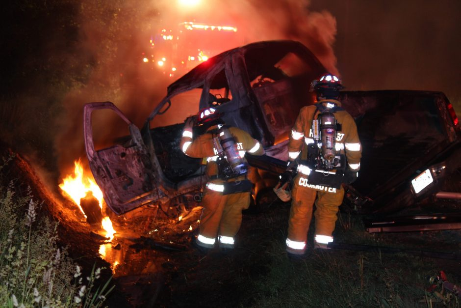 Hillcrest Fire Department personnel battle a vehicle fire early Saturday morning on Pruyn Hill Road in Halfmoon. A pickup truck crashed into a ditch and burst into flames. The driver was taken to an area hospital. Her condition was not immediately know...