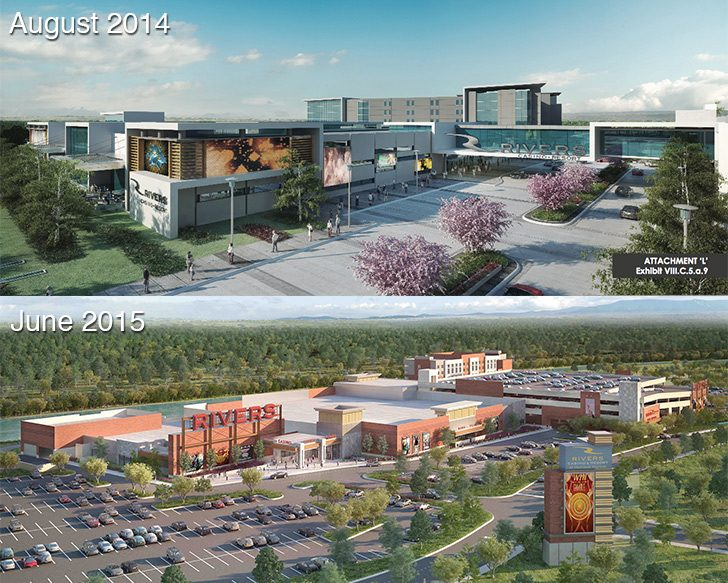 Two renderings of the Rivers Casino and Resort at Mohawk Harbor, one from August 2014 and the second from June 2015.