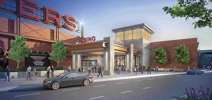A rendering of the enterance to the proposed Rivers Casino and Resort at Mohawk Harbor, released June 4, 2015.