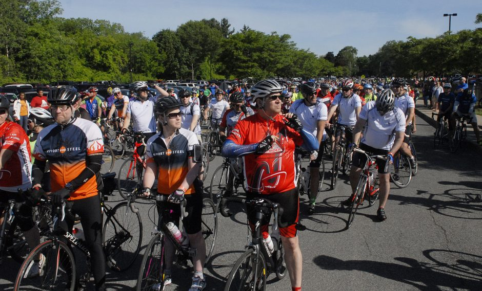 On Sunday morning, June 7th, 2015, bikers hit the roads in Saratoga County for the Annual Saratoga Tour de Cure which starts at Saratoga Springs High School. Races were 100 miles, 62.5, 50, 28 and 10 miles. Riders await the start of the 28 mile race, s...