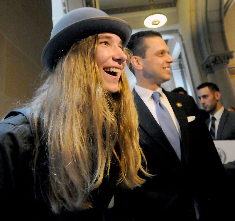 """Sawyer Fredricks, winner of NBC's """"The Voice"""", and a Town of Glen native ,visited the New York State Capitol in Albany on Tuesday June 9, 2015. Fredricks was recognized on the floor in Senate and Assembly Chambers."""