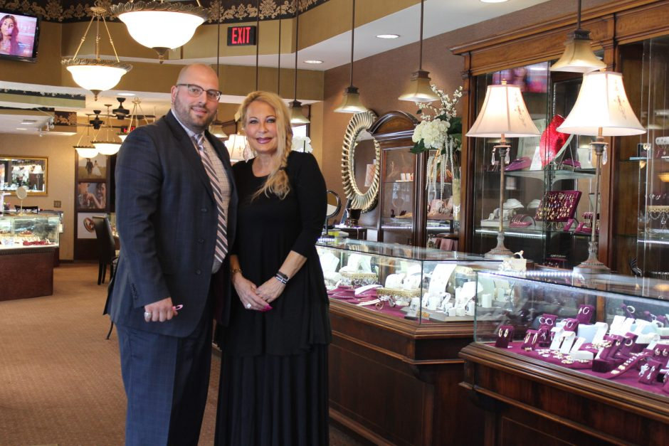 Sondra Stephens, right, and her son, Andrew Kaczmarek, show off their newly renovated jewelry store on Upper Union Street.