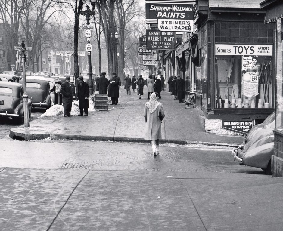 Broadway, Saratoga Springs in the 1950s, from the George S. Bolster Collection.