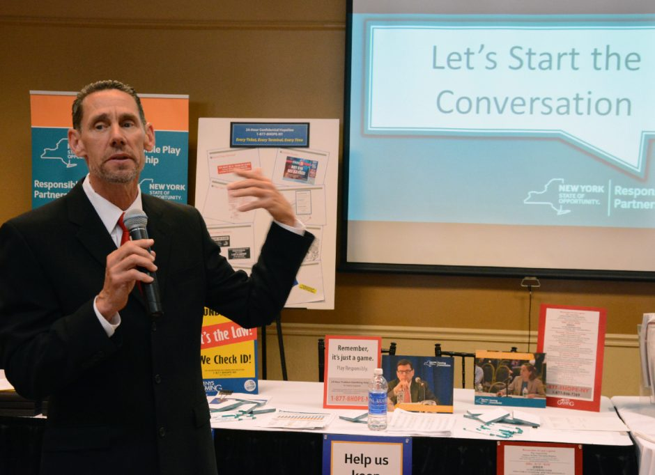 """James Maney, Executive Director, NY Council on Problem Gambling, speaks during """"Let's Start the Conversation"""" on problem gambling that was held at Schenectady County Community College on Wednesday  June 17, 2015"""