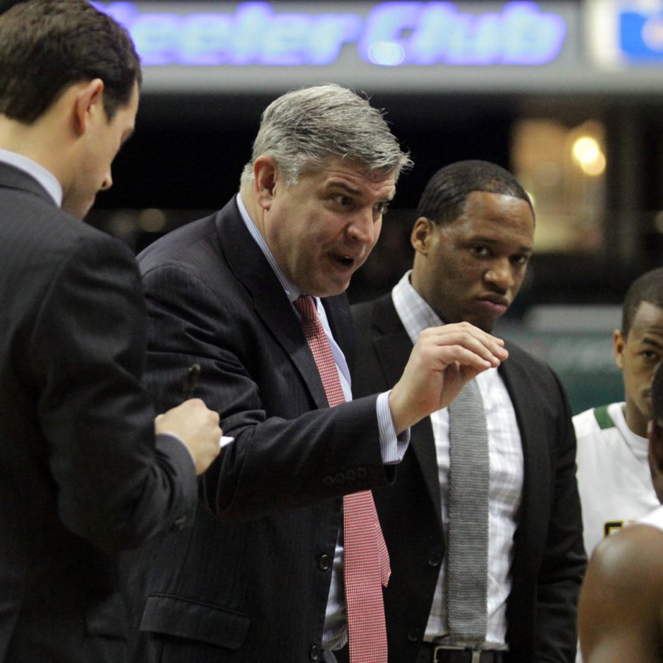Siena basketball coach Jimmy Patsos, center, confirmed Wednesday a deal is in place to continue the Siena-UAlbany series.