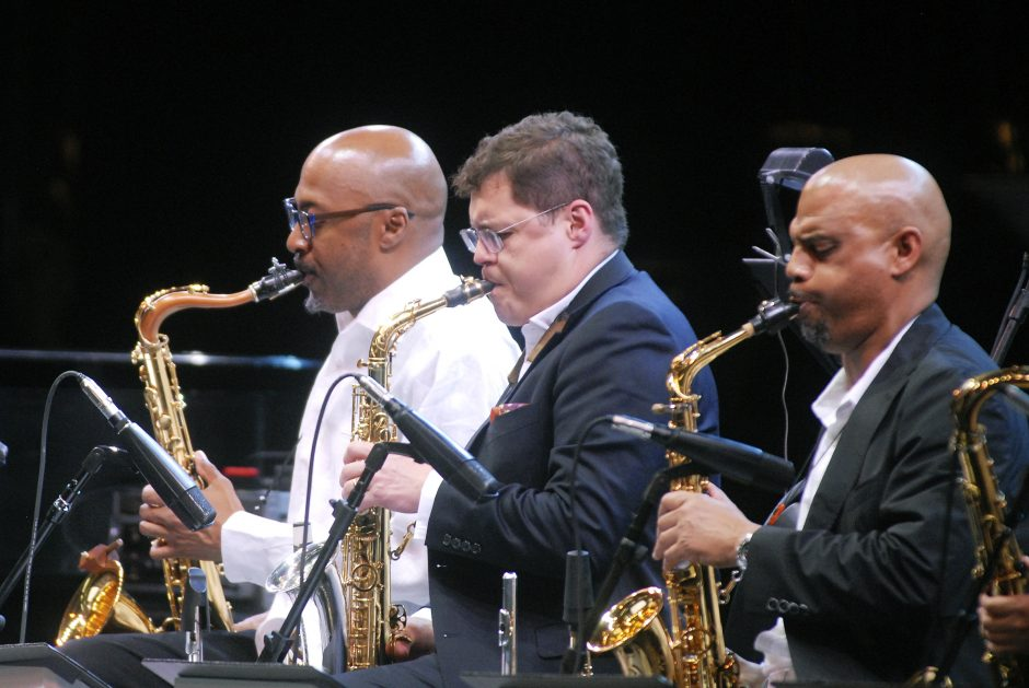 The Christian McBride Big Band performed, with Christian McBride on bass, Saturday afternoon at the Saratoga Performing Arts Center as part of the 38th Annual Freihofer's Saratoga Jazz Festival.