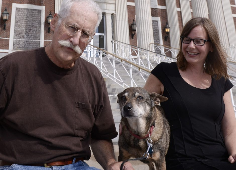The 4th Candidate for City of Schenectady Mayor is Diamond with her owner Bill MacTiernan and campaign manager Kathy Fitzmaurice on the steps of City Hall Wednesday, July 1, 2015.
