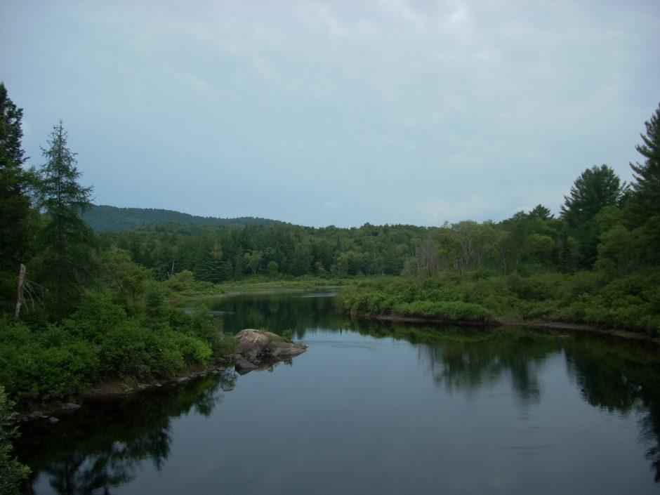 The Hudson River as seen from the Polaris Bridge in the Essex Chain Lakes region of the Adirondacks in July 2013.