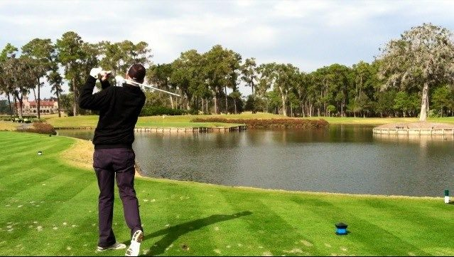 Mohonasen graduate Joe Watroba takes a swing at TPC Sawgrass in a Make A Wish tournament in 2008. Watroba, a cancer survivor, has organized a benefit tournament to raise money for cancer research.