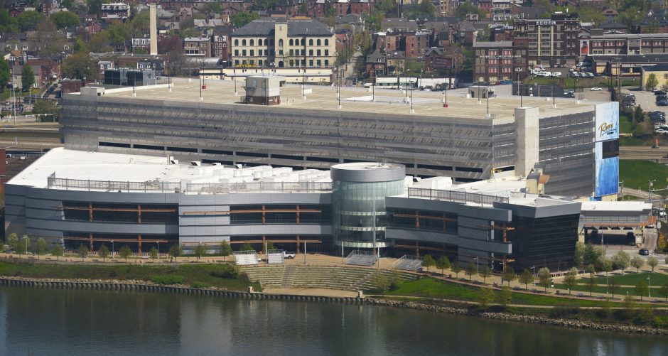 The Rivers Casino as seen from the top of Mount Troy in Pittsburgh.