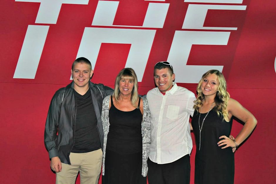 Lori Blatnick, second from left, is shown with her children Ian, far left, and Niki, plus nephew Kyle, in this recent photo in Las Vegas. Lori Blatnick was there for her late husband Jeff's induction into the UFC Hall of Fame.