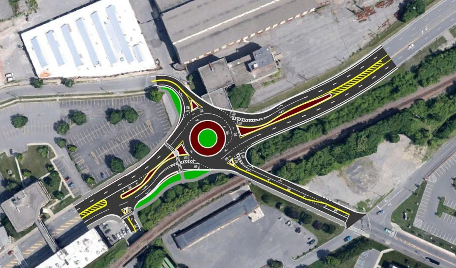 The roundabout at Erie Boulevard and Nott Street includes four through-lanes and direct access into the Mohawk Harbor site and onto nearby Front Street.