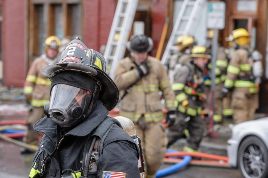 A fire ripped through a building on Caroline Street in Saratoga Springs on Thursday.