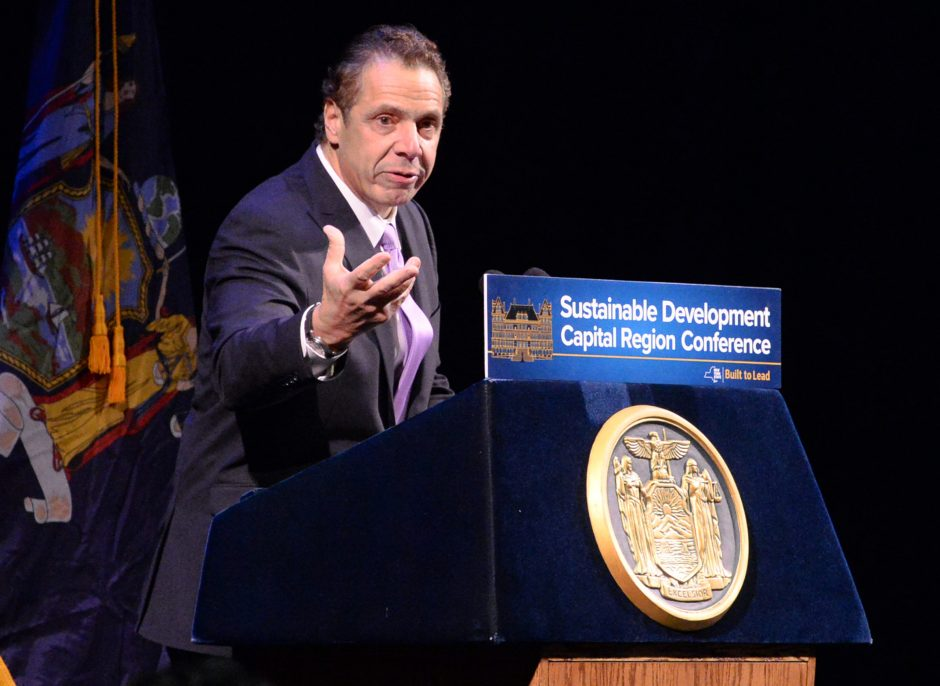 Gov. Andrew M. Cuomo speaks at the Sustainable Development Capital Region Conference that was held at Proctors on Tuesday.