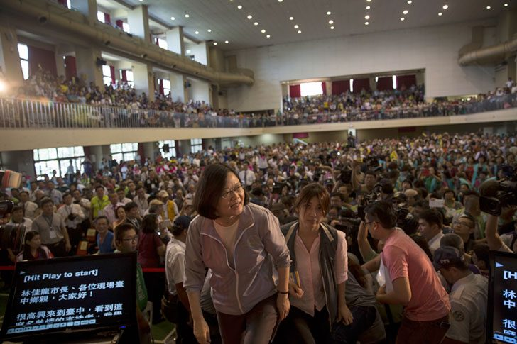Tsai Ing-wen, the president of Taiwan, walks onstage at a campaign event in Taichung City, Taiwan, Sept. 6, 2015.