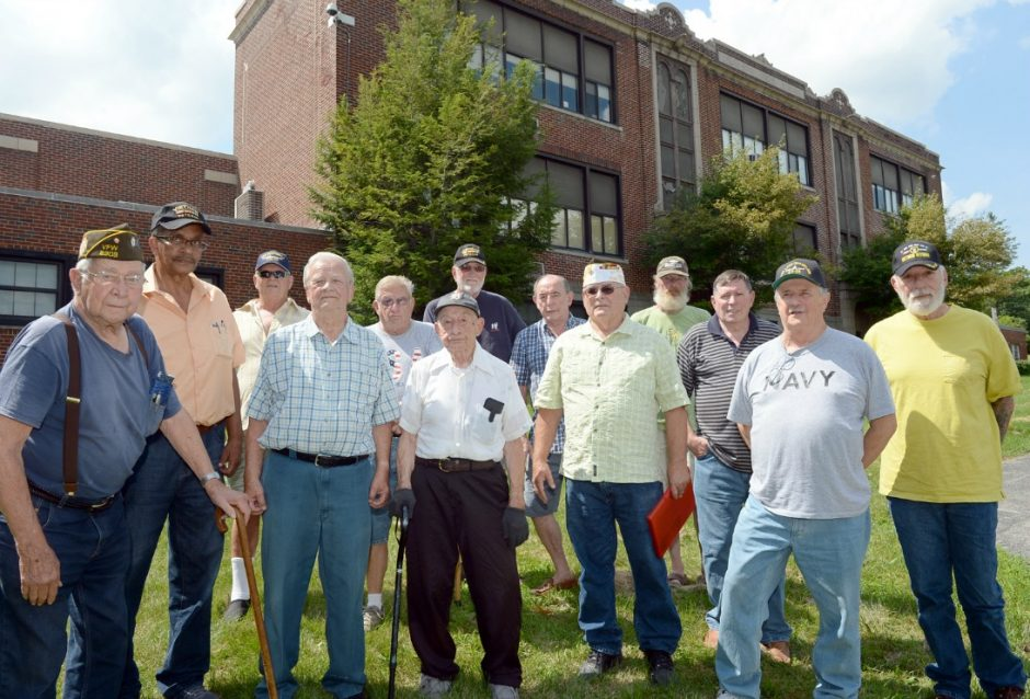 Duanesburg veterans pushing for tax exemption in front of Duanesburg High School. Left to right is, Ray Koontz, Paul Harris Ben Persing, Arthur Wright, Bill Tindale, Chauney Yager, Ken Chrinian, Richard Funk, Art Crandall, Don Mace, Don Collins, and Fr...