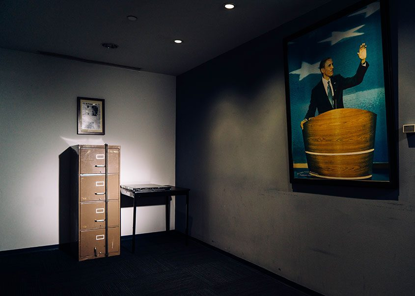 A filing cabinet broken into in 1972 as part of the Watergate burglary, beside a computer server that Russian hackers breached d