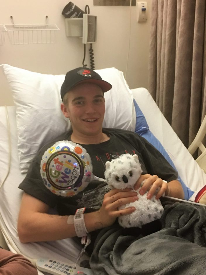 Blake Alois is seen in this photo, taken by his mother, Doris, on Saturday, as he continues to recover from frostbite.