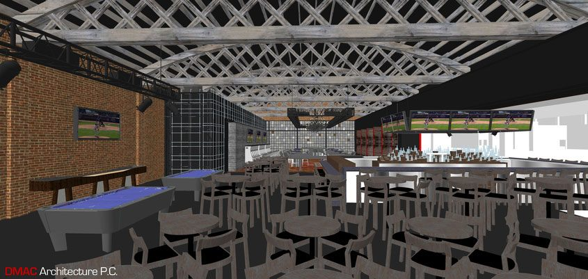 An architect's rendering of the lounge being constructed at Rivers Casino in Schenectady.