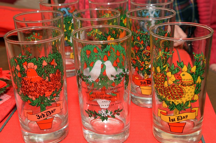 """The """"12 Days of Christmas"""" glasses that Saratoga Springs resident Jeannette Neville puts out at the dinner table each year."""