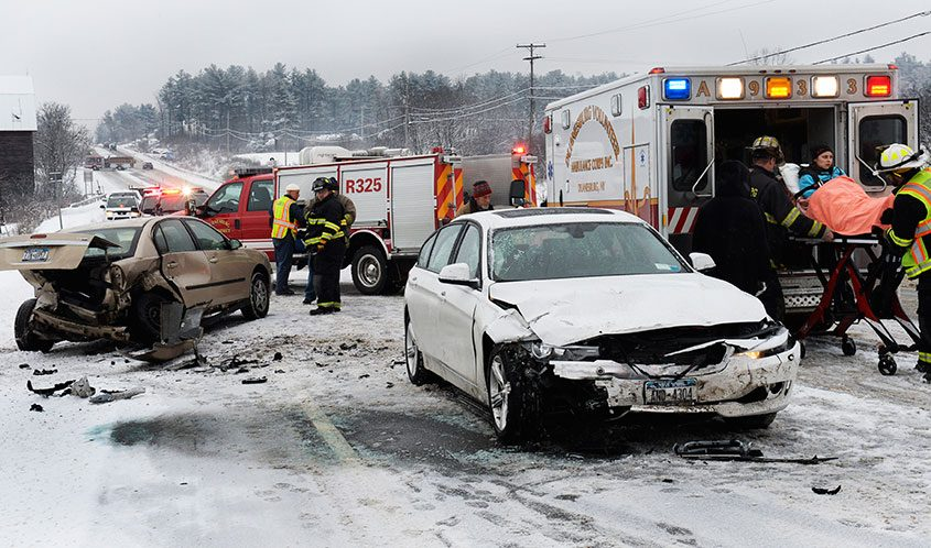An accident on Western Turnpike near the Interstate 88 exit 24 flyover in Duanesburg, Dec. 22, 2016.