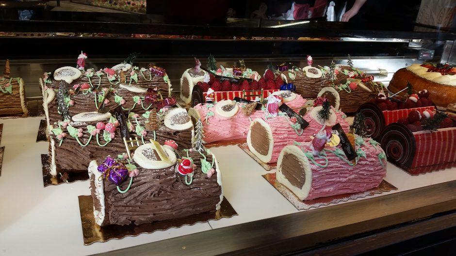 Buche de Noel (log cakes) at a boulangerie in Paris.