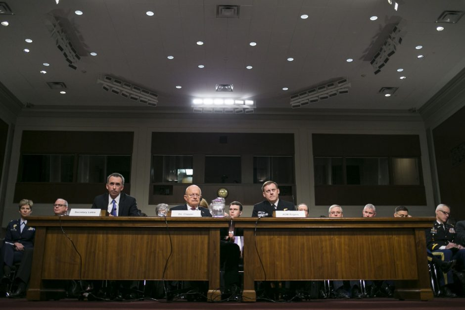 Intelligence officials testify before the Senate Armed Services Committee, Jan. 5, 2017.