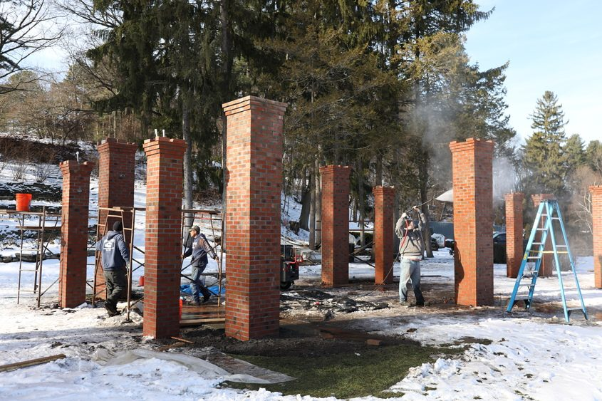A brick perogola is being built this winter in Central Park in Schenectady.