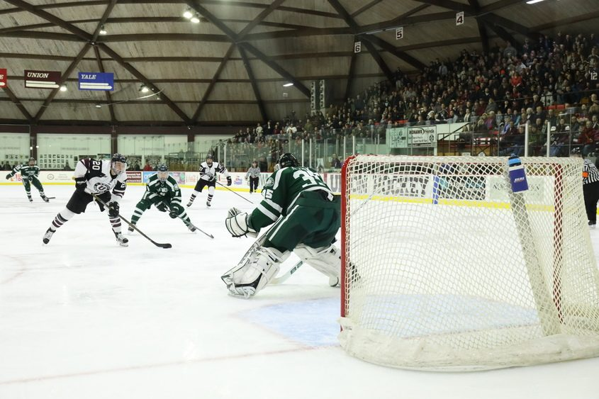 Union defenseman Greg Campbell shoots during Friday's game against Dartmouth at Messa Rink.