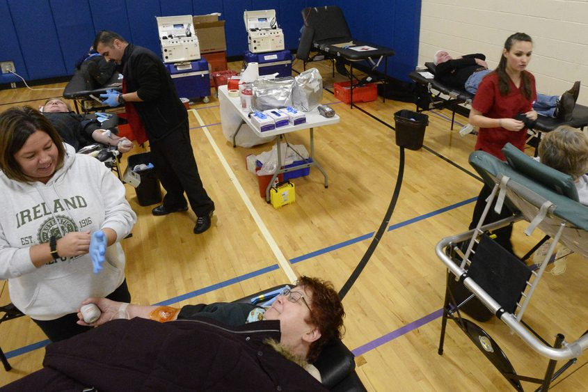 Red Cross' Karena Majkowski talks with Beth Gillespie-Kehoe at the Clifton Park Y.