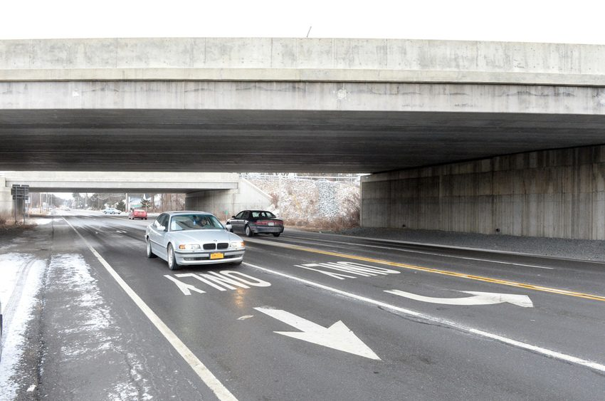 Site of the fatal hit-and-run, beneath the Interstate 87 overpass on Watervliet-Shaker Road.