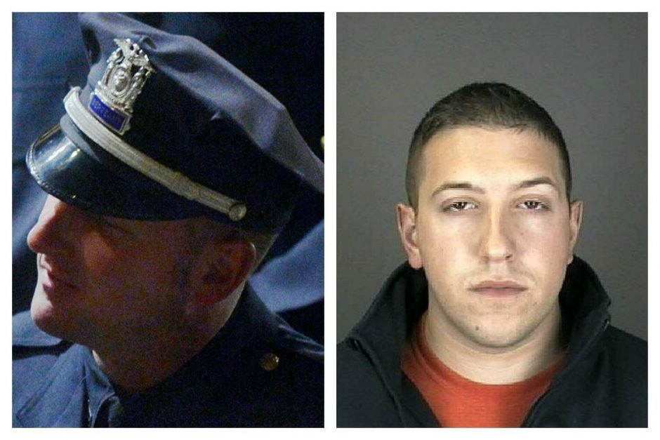 Schenectady police sergeant Jonathan Moore, left, and Anthony Aubin.