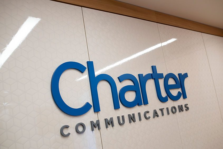 The Charter Communications logo at the company's office in Stamford, Conn., on May 28, 2015.
