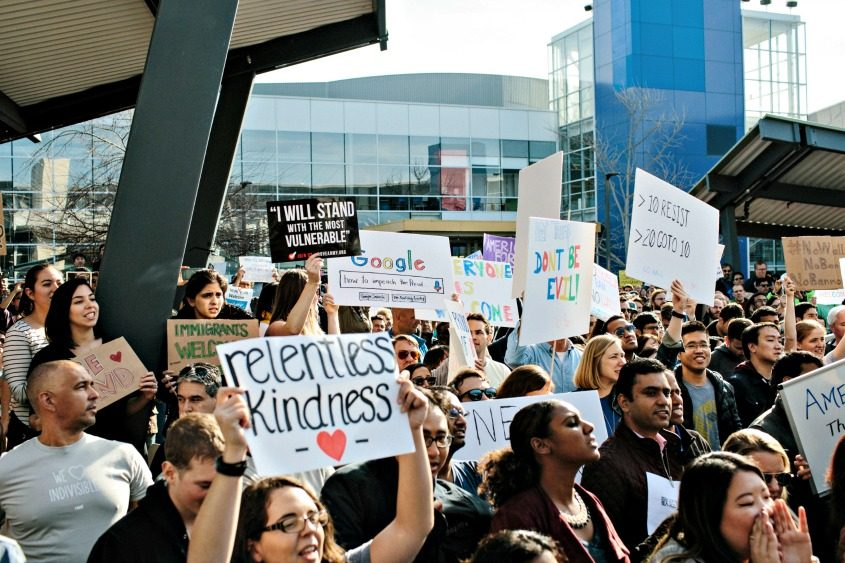 A protest outside Google's headquarters in Mountain View, Calif., on Jan. 30, 2017.