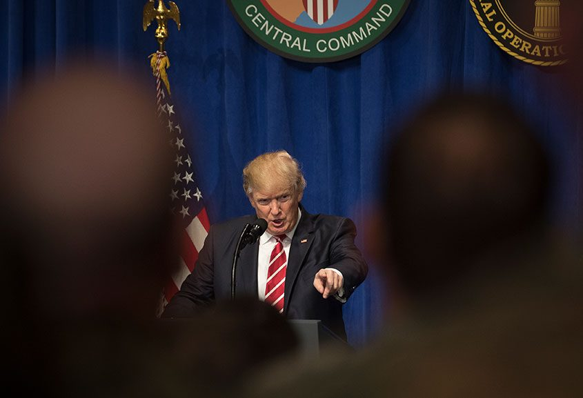 President Donald Trump speaks during a visit to U.S. Central Command at MacDill Air Force Base in Tampa., Fla., on Feb. 6, 2017.