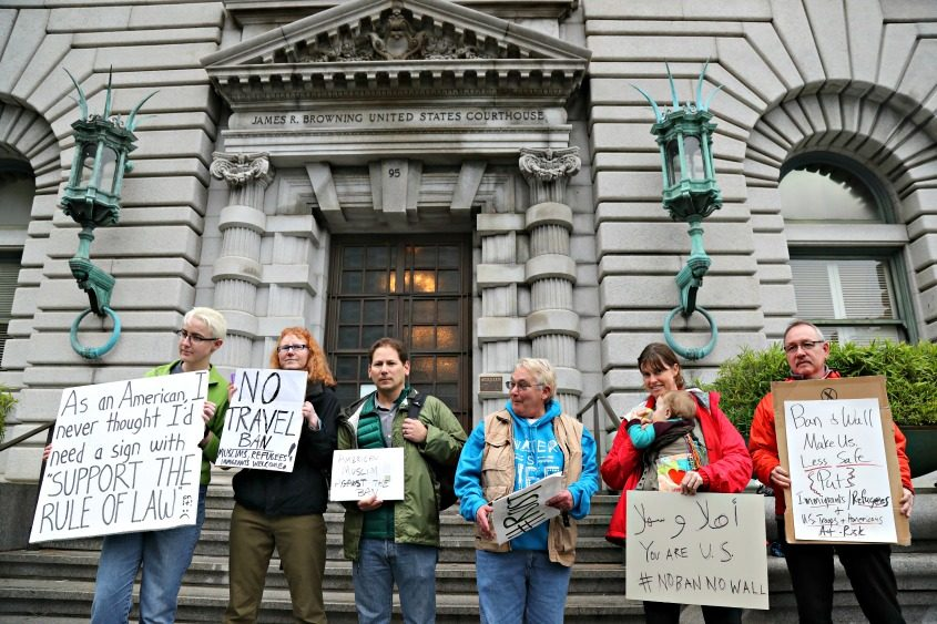 Demonstrators outside the U.S. Court of Appeals for the Ninth Circuit in San Francisco on Tuesday.