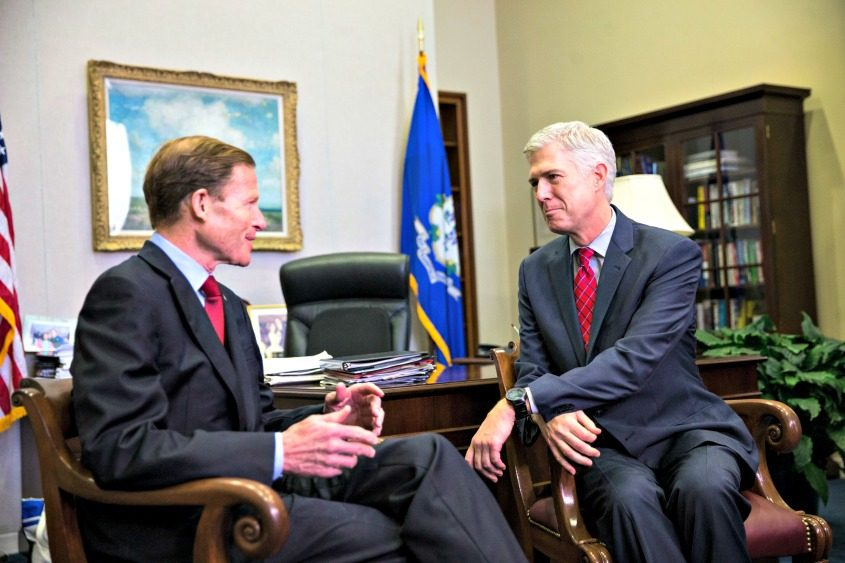 Judge Neil Gorsuch, President Donald Trump's pick for the Supreme Court vacancy, meets with Sen. Richard Blumenthal (D-Conn.).