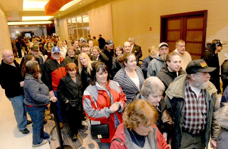 People wait for the official opening of Rivers Casino on Wednesday. The casino was packed Saturday, just like on opening day.