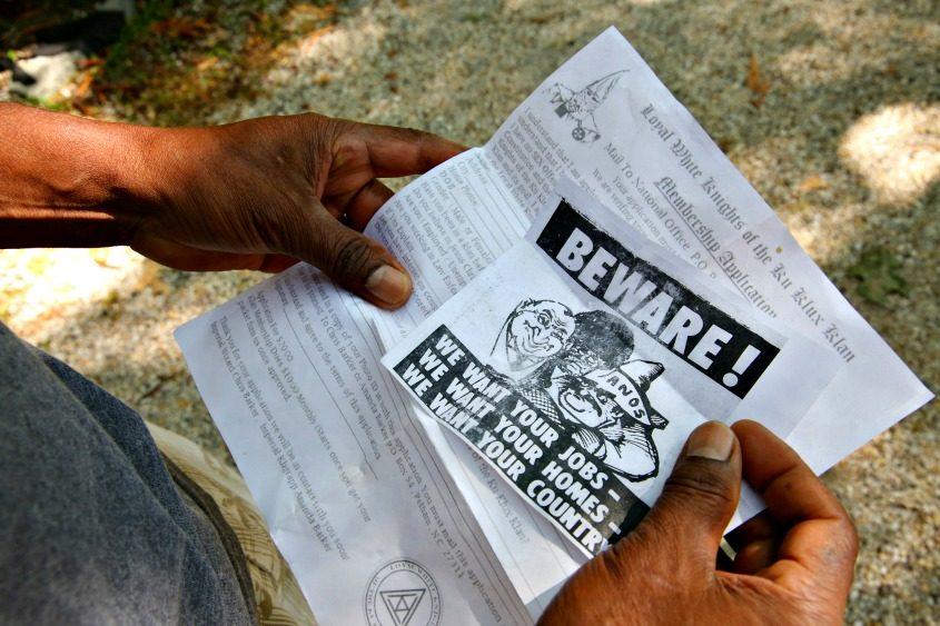 A similar leaflet found in Hampton Bays, N.Y., on Aug. 28, 2014.