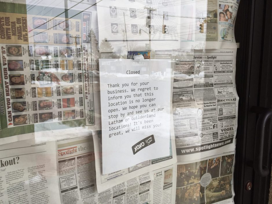 A sign lets passersby know that the Jimmy John's location on Union Street is closed.