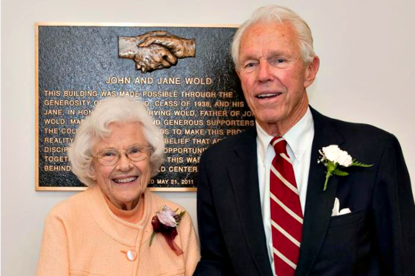 Jane and John Wold at the dedication of the Peter Irving Wold Center in May 2011.